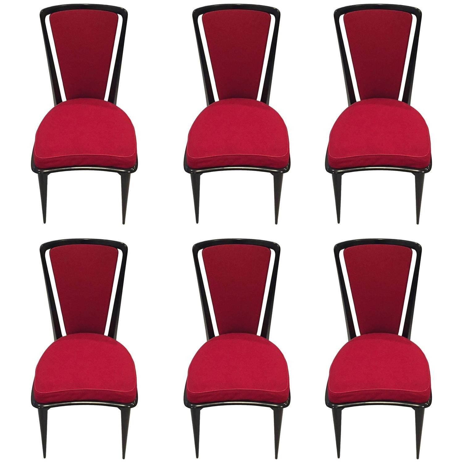 French Art Deco Black Lacquer Dining Chairs Set of Six – 1 of a