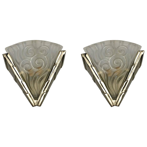 "Pair of French Art Deco Wall Sconces by ""Degue"""
