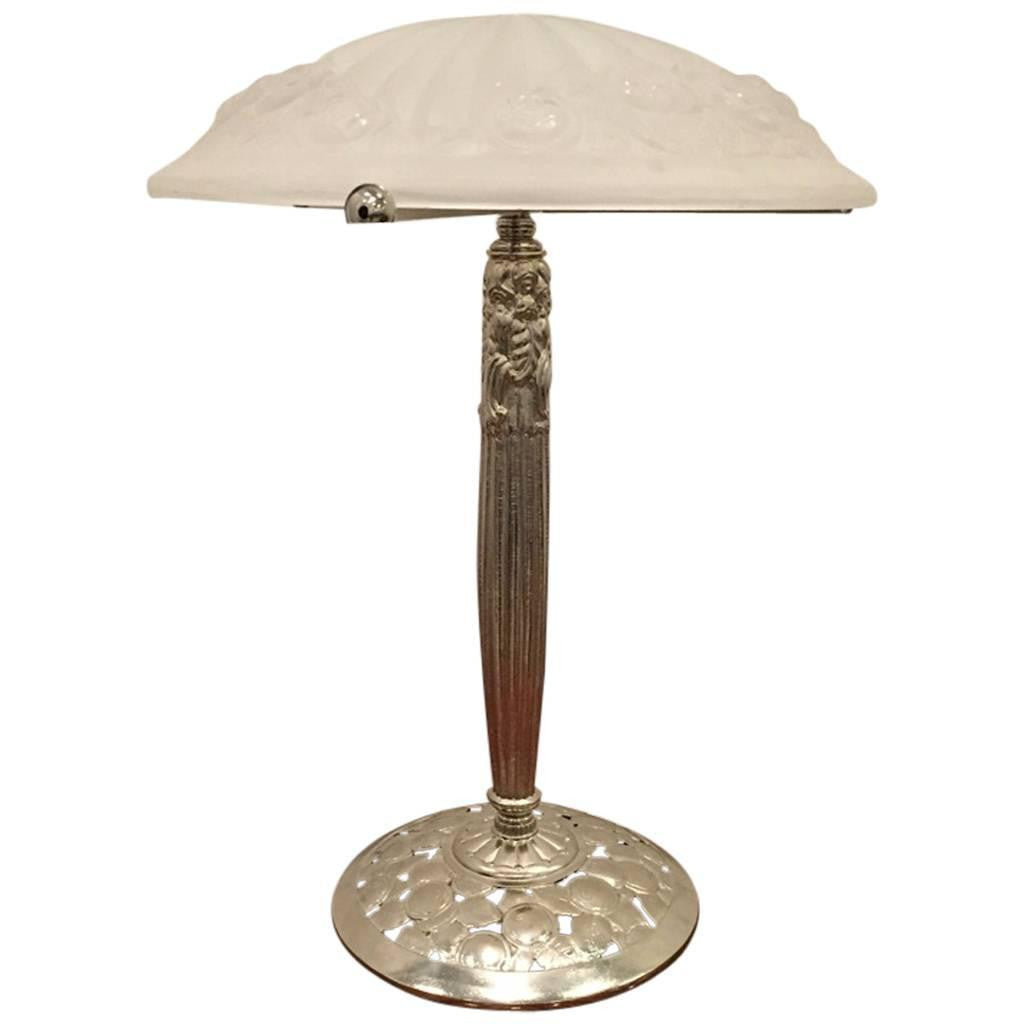 French Art Deco Table Lamp Signed By Degue