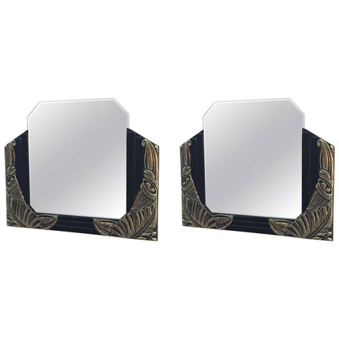Pair of French Art Deco Black Lacquer and White Gold Mirrors