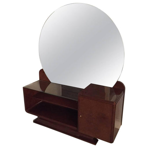 Art Deco Women's Vanity with Large Round Mirror