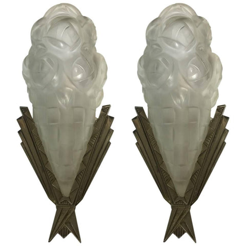 Pair of French Art Deco Signed Degue Sconces