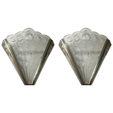 Pair of French Art Deco Sconces Signed by Verrerie des Hanots