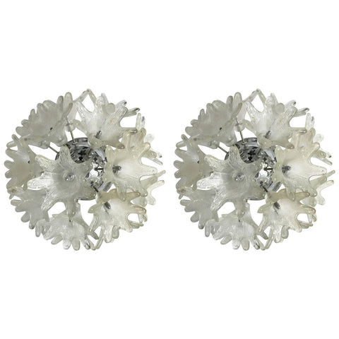 Pair of Murano Sputnik Floral Sconces or Flush Mounts by Mazzega