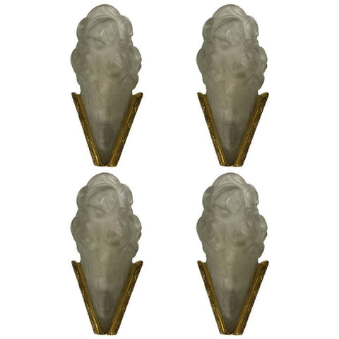 Set of Four French Art Deco Sconces Signed by Degue