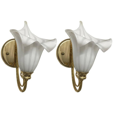 Pair of Italian Murano Calla Lily Mid-Century Brass Sconces