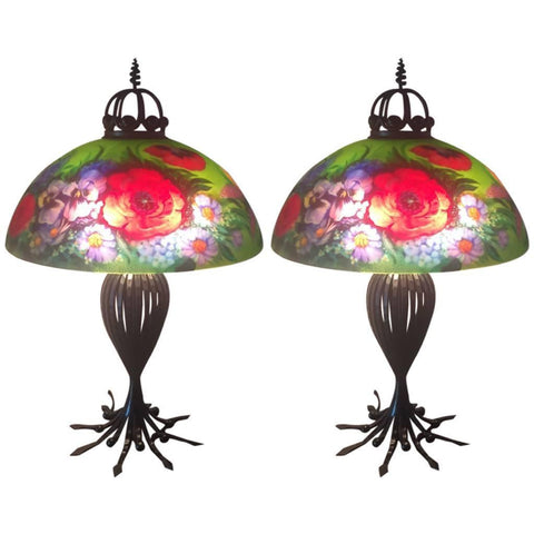 Signed Original Pair of Mikael Darni Floral Green Table Lamps