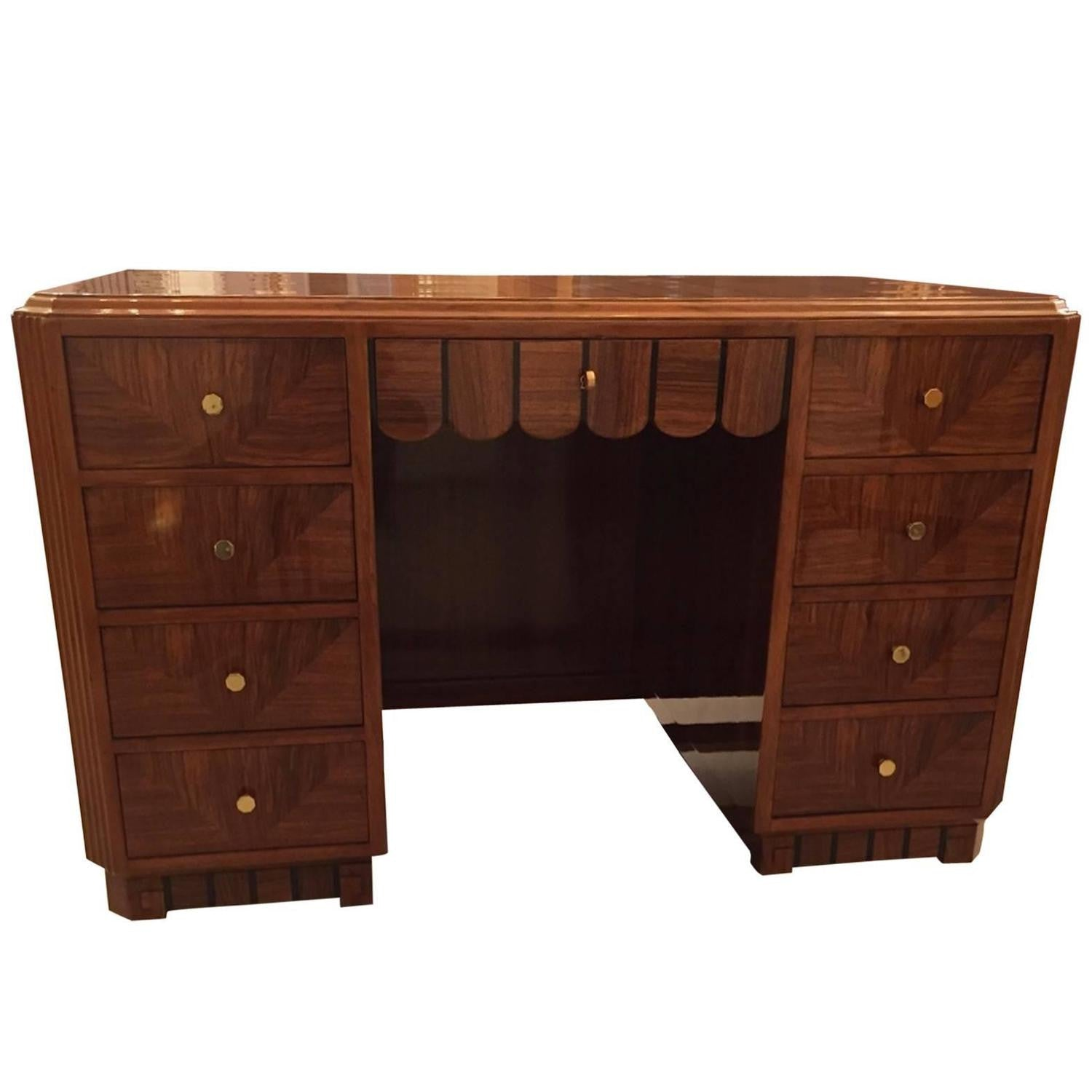 macassar ebonized important desk modernism and desks an items art furniture deco wood french ebony tables