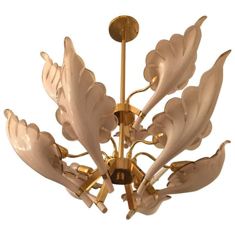 Italian Murano Mid Century Two Tier Brass Chandelier