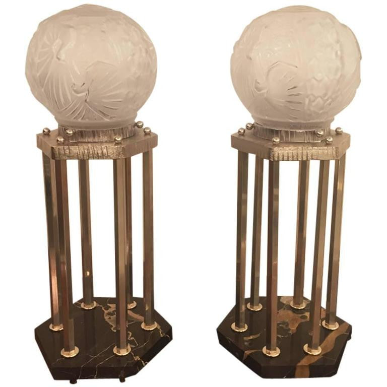 French Art Deco Pair Of Table Lamps By Muller Freres 1 Of A Kind Nj