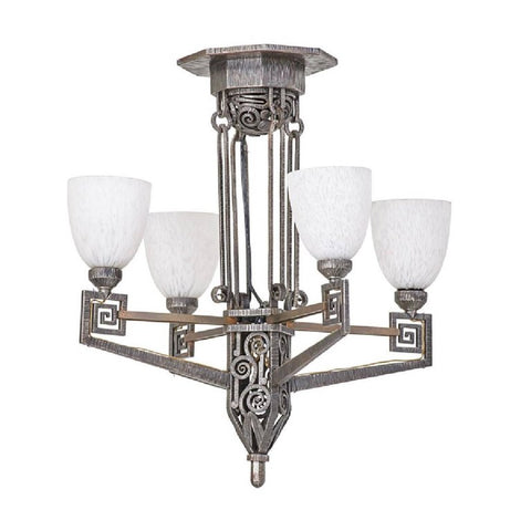 Edgar Brandt Style French Art Deco Chandelier