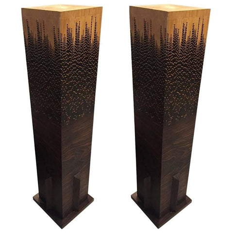 Mid Century Pair of Wood Pedestals