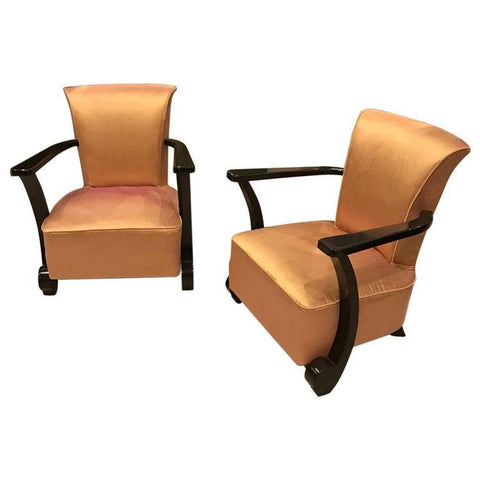 Pair of French Art Deco Ebony Lacquered Club Chairs