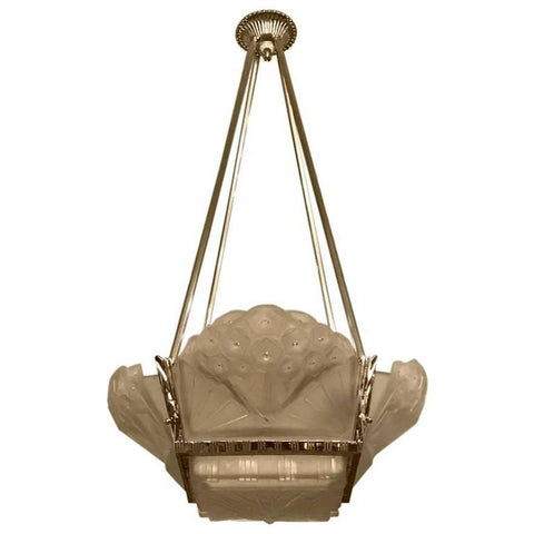 French Art Deco Geometric Chandelier Signed by Muller Frères