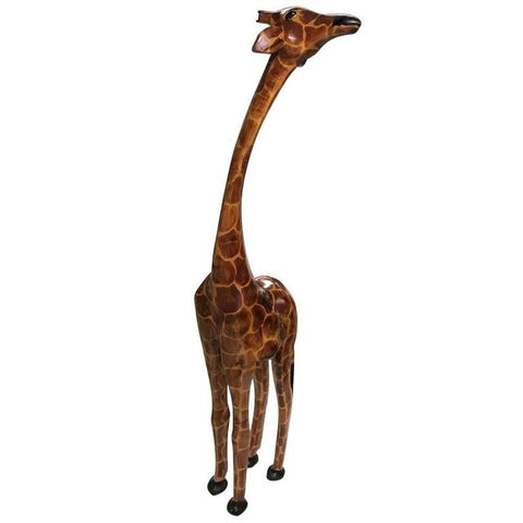 "74.5"" Tall Hand-Carved Wood Standing Giraffe"