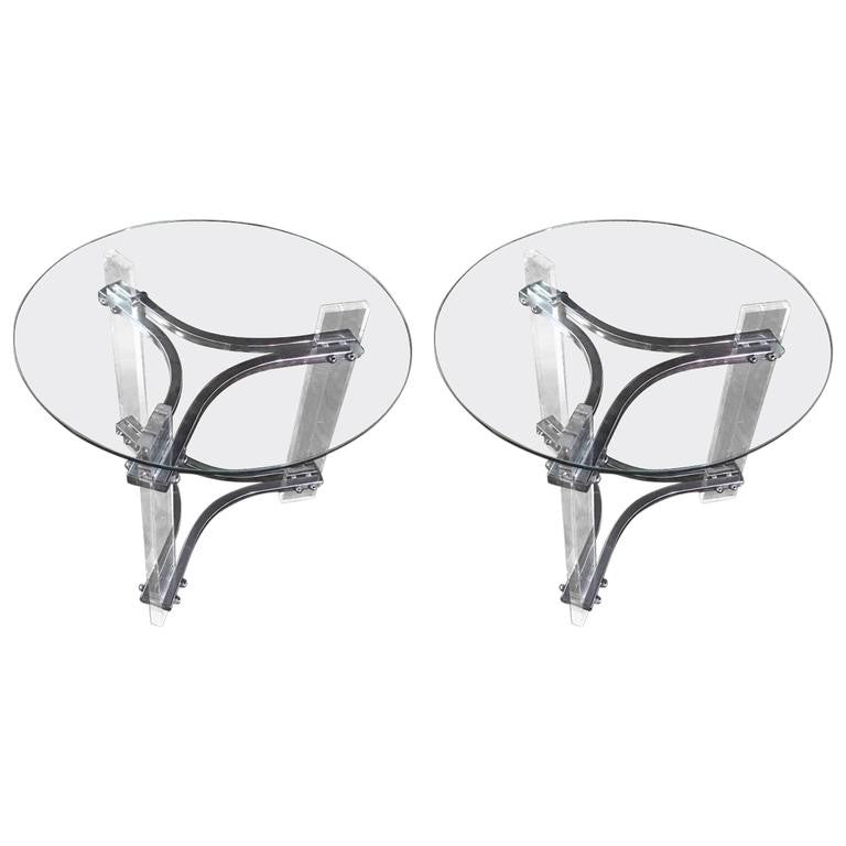 Pair Of Mid Century Modern Lucite, Chrome, And Glass Side Tables