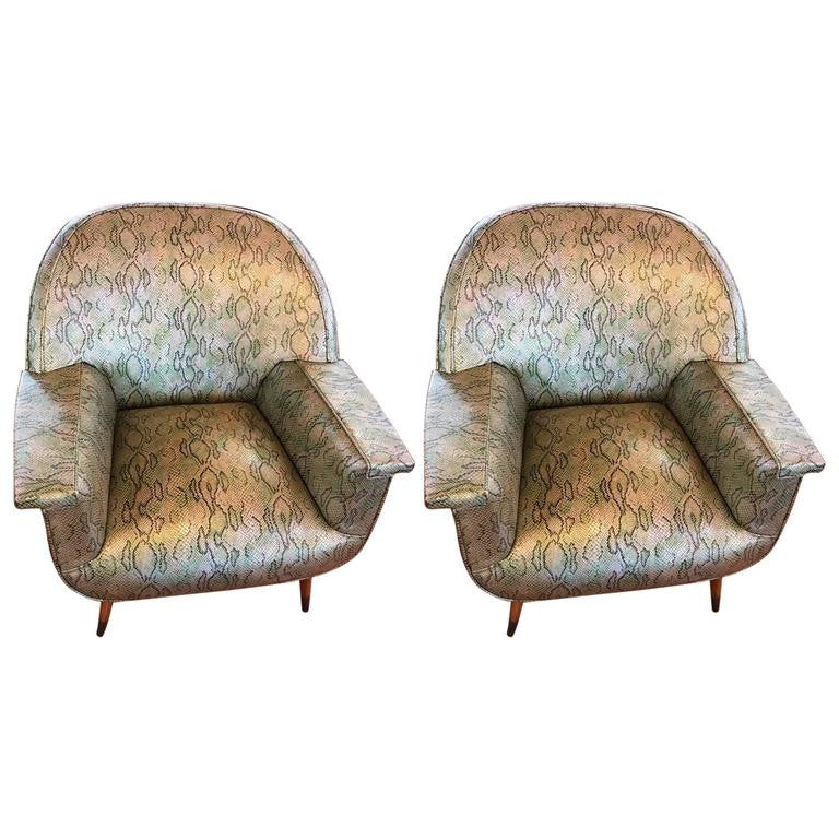 Pair Of Italian Mid Century Modern Club Chairs With Faux Snake Skin