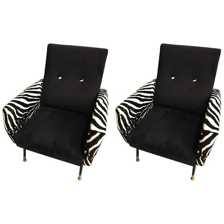 Mid Century Pair Of Metal Club Chairs With Faux Zebra Print