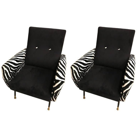 Mid-Century Pair of Metal Club Chairs with Faux Zebra Print