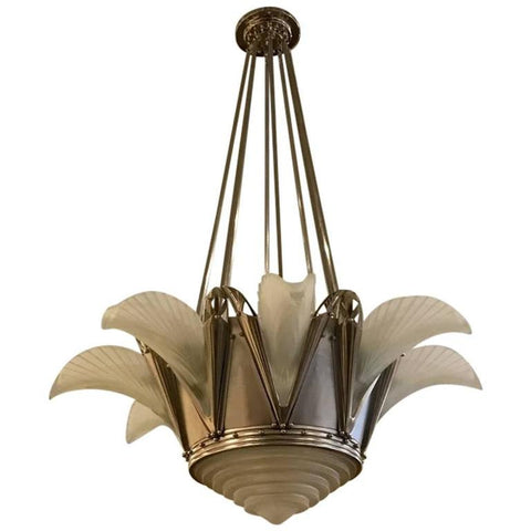 Stunning French Art Deco Chandelier Signed by G Leleu