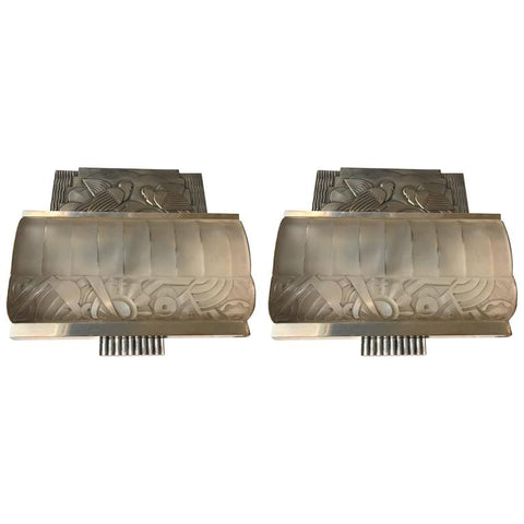Pair of French Art Deco Sconces with Geometric Motif by Sabino