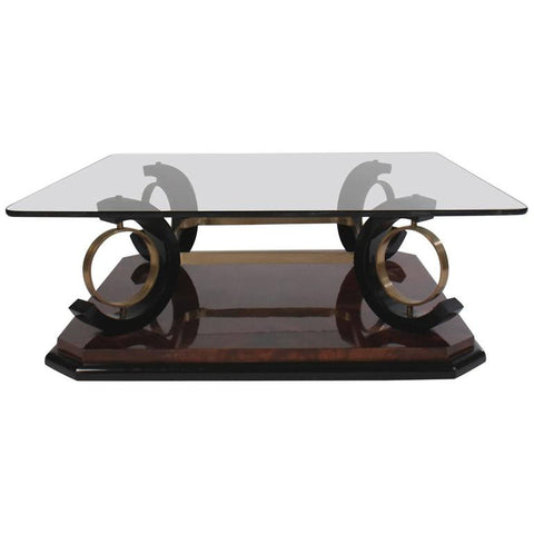 Italian Mid-Century Modern Coffee Table Having Glass Top
