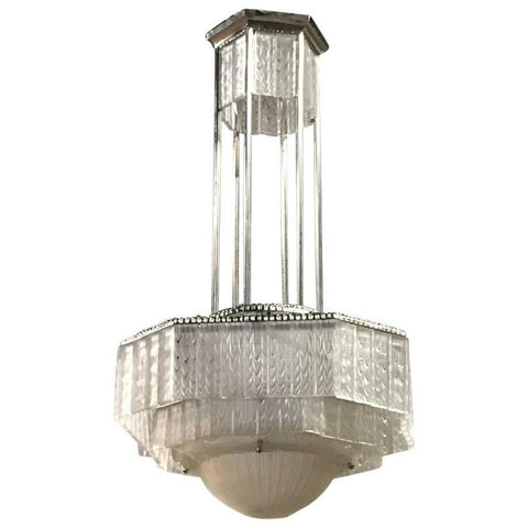 French Art Deco Geometric Chandelier Signed by G. Leleu