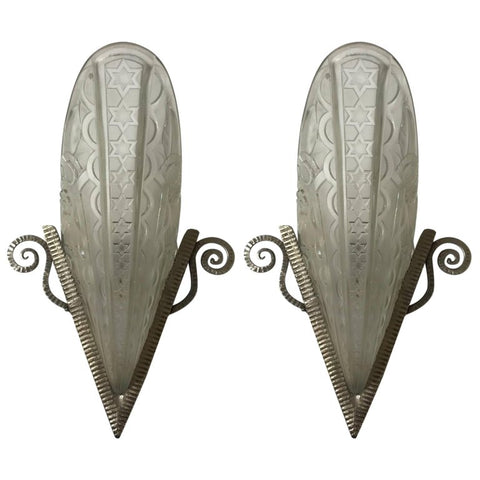 Pair of French Art Deco Wall Sconces by Donna Paris