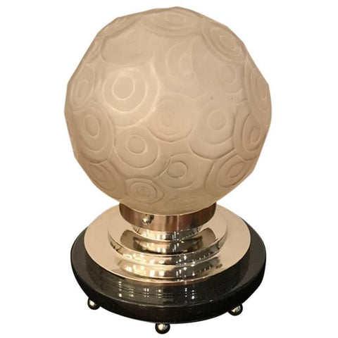 French Art Deco Table Lamp by Sabino with Geometric Motif