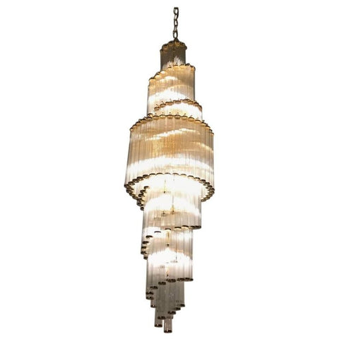 Italian Mid-Century Modern Double Waterfall Spiral Glass Chandelier