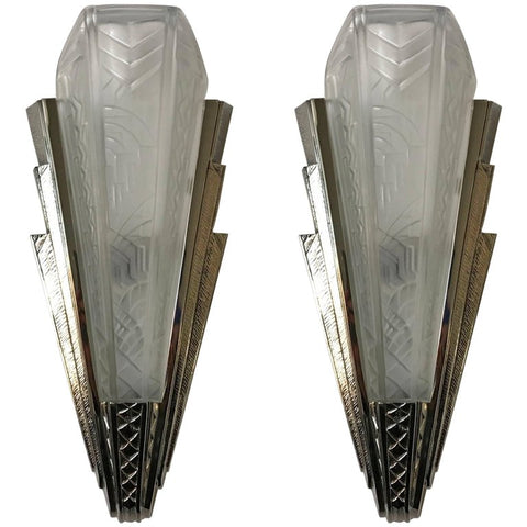 Pair of French Art Deco Wall Sconces Signed by P. Maynadier