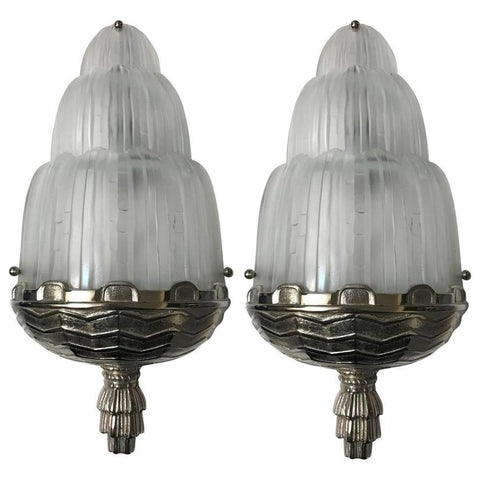 "Pair of French Art Deco ""Waterfall"" Sconces Signed by Sabino"