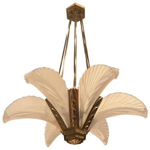 "French Art Deco ""Feather"" Chandelier"