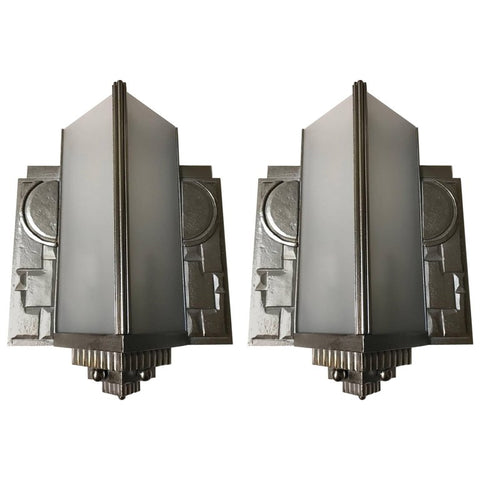 Pair of Geometric French Art Deco Wall Sconces