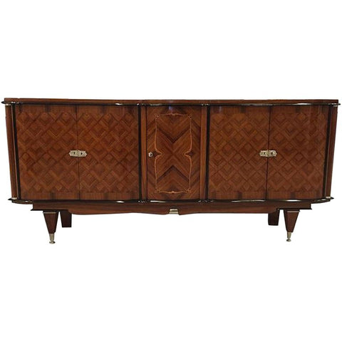 French Art Deco Rosewood Diamond Marquetry Buffet