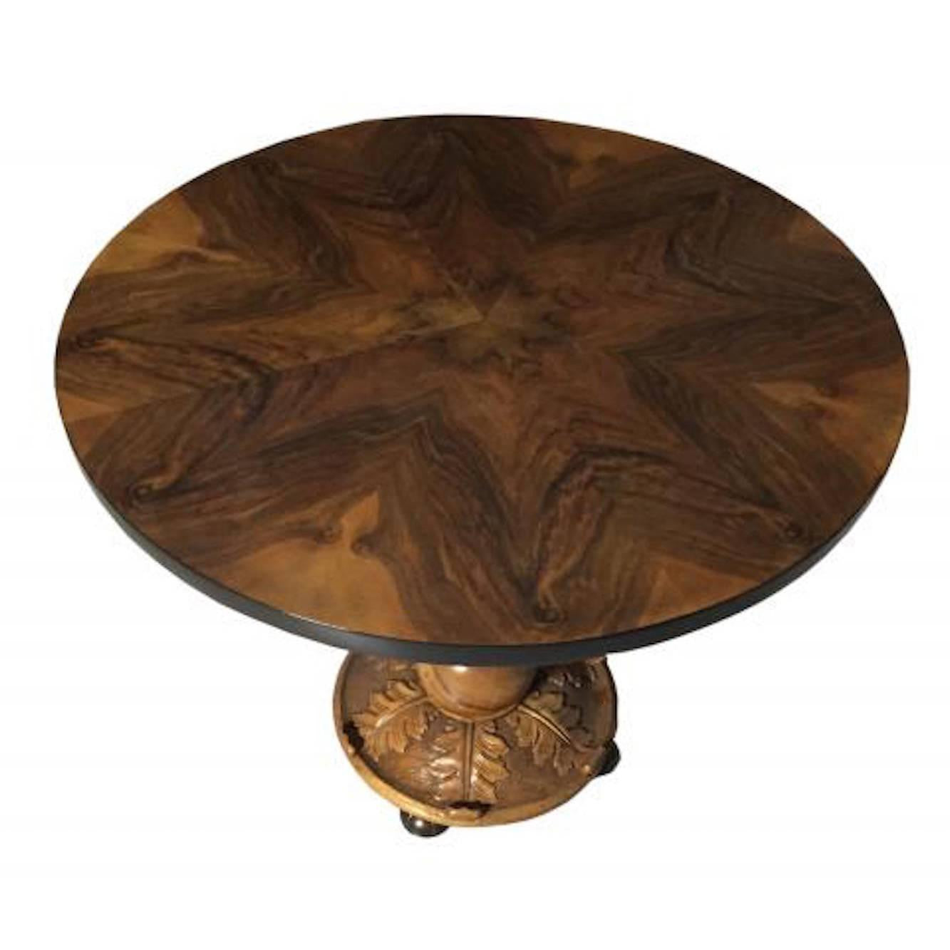Amazing French Art Deco Walnut Accent Table