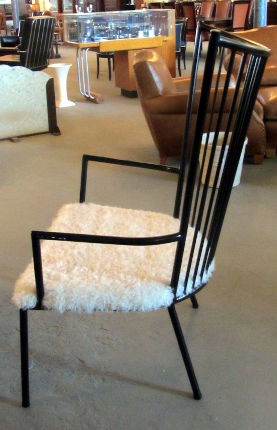 French Mid Century Modern Armchair With Lambs Wool Seat 1 Of A Kind Nj