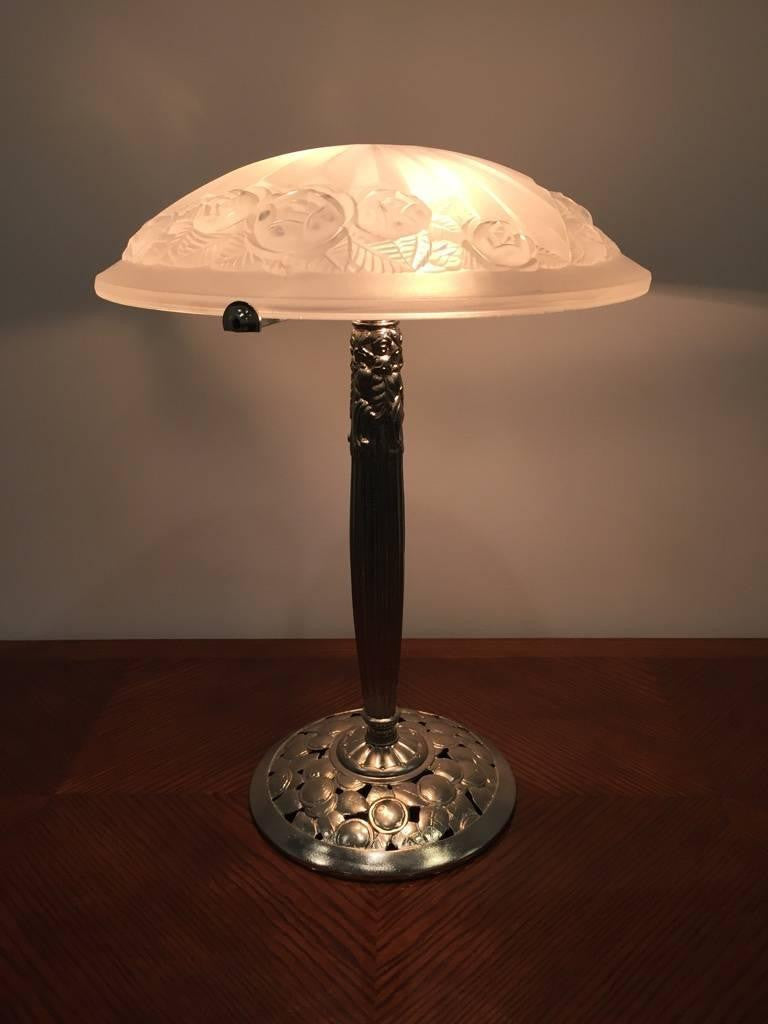 Glass shade table lamp - Signed Degue French Art Deco Nickel Plated Table Lamp With Glass Shade