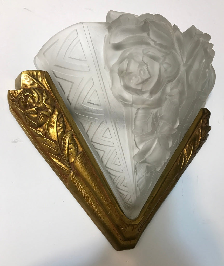 French Art Deco Wall Sconce Signed By Verdun Part 89