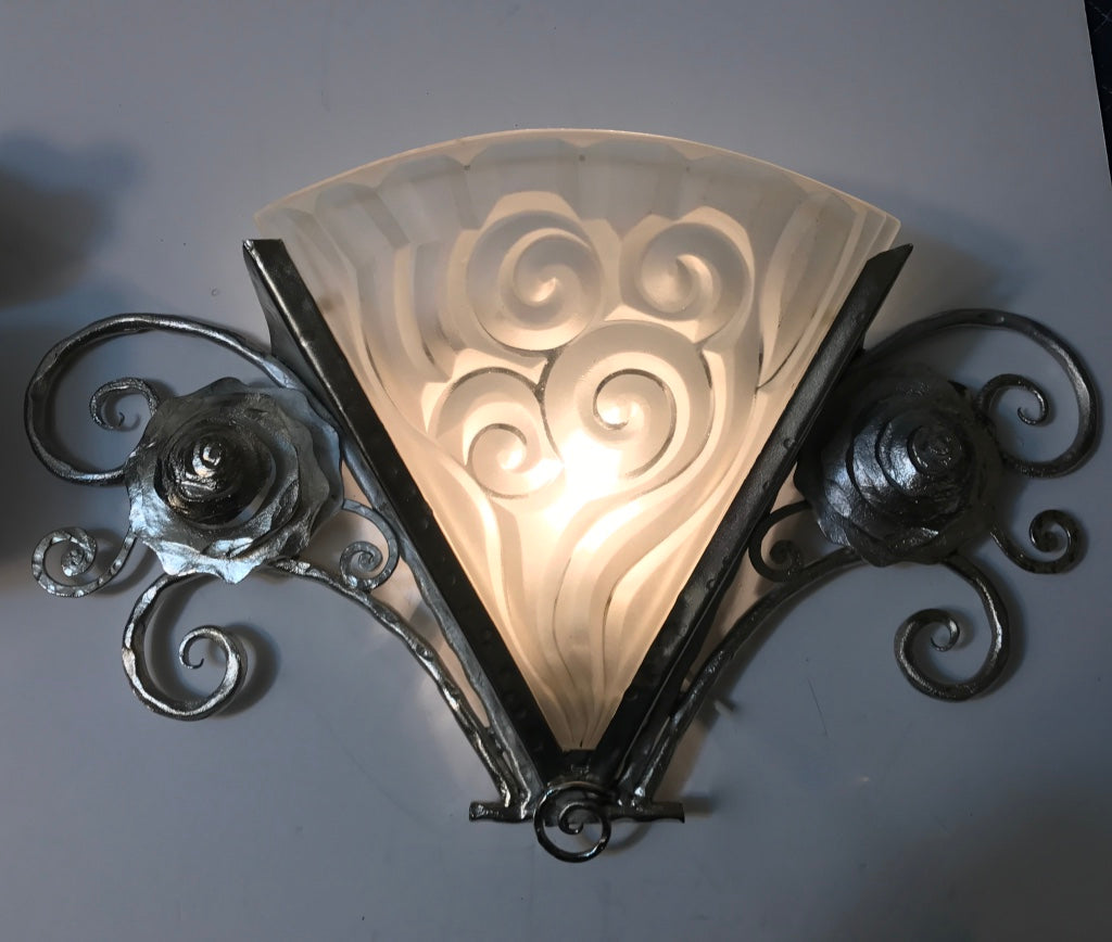 Pair of French Art Deco Wall Sconces by Degue & Pair of French Art Deco Wall Sconces by Degue u2013 1 of a Kind NJ