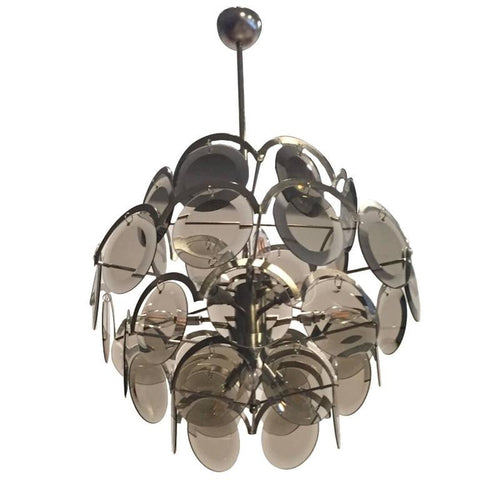 Italian Mid-Century Vistosi Glass Disks Chandelier