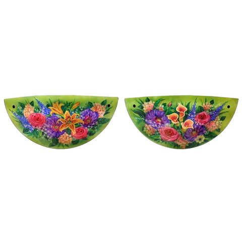 Signed Original Mikael Darni Pair of 16 x 10 inches Floral Green Sconce
