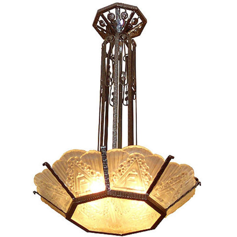 French Art Deco Wrought Iron Geometric Glass Chandelier