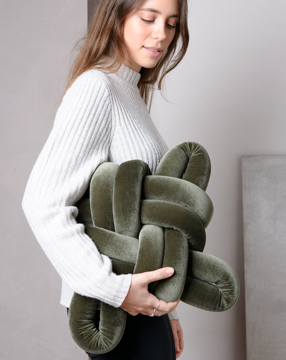Velvet Olive Green Knot Pillow