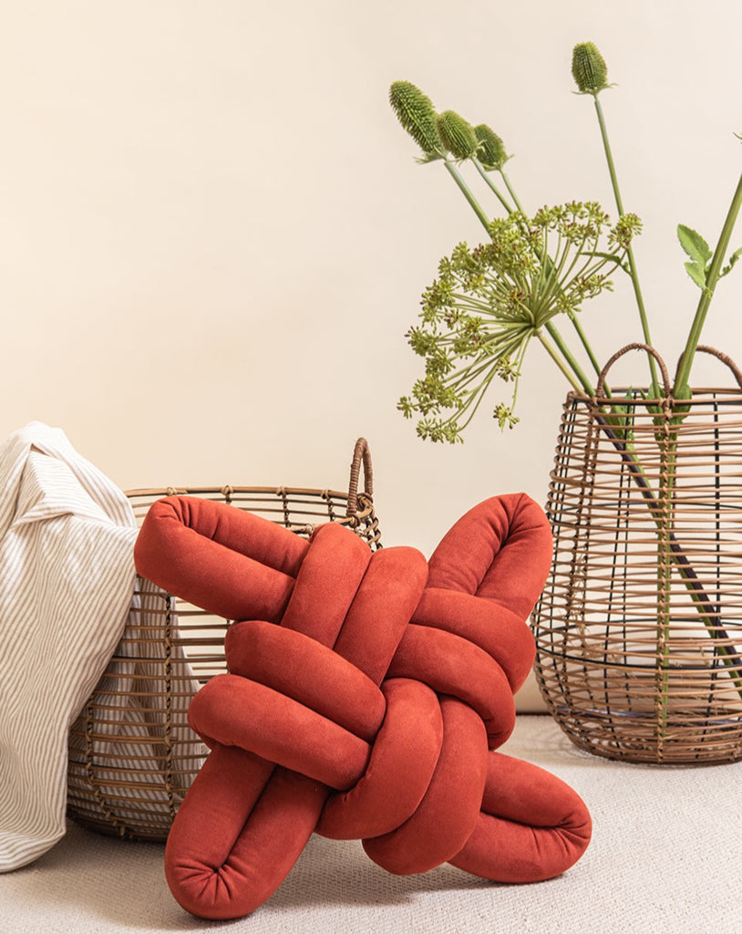 Red Earth vegan suede Knot Pillow