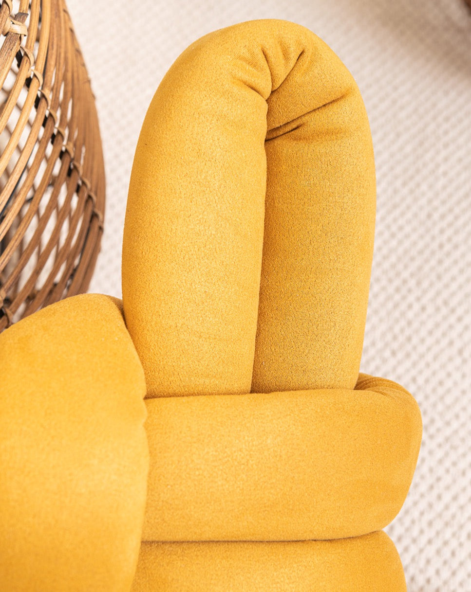 Grey velvet knot stool