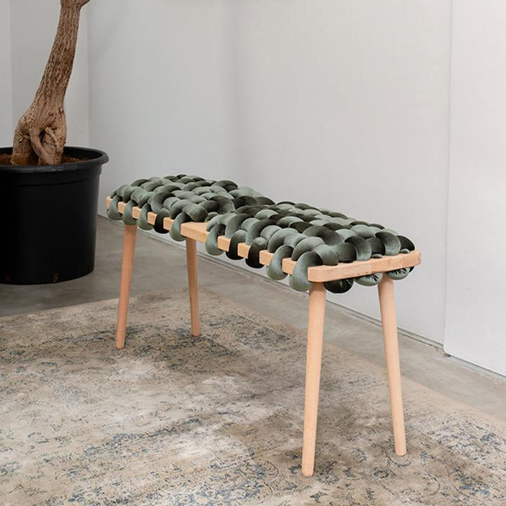 Olive Green Velvet Double Seat Woven Bench
