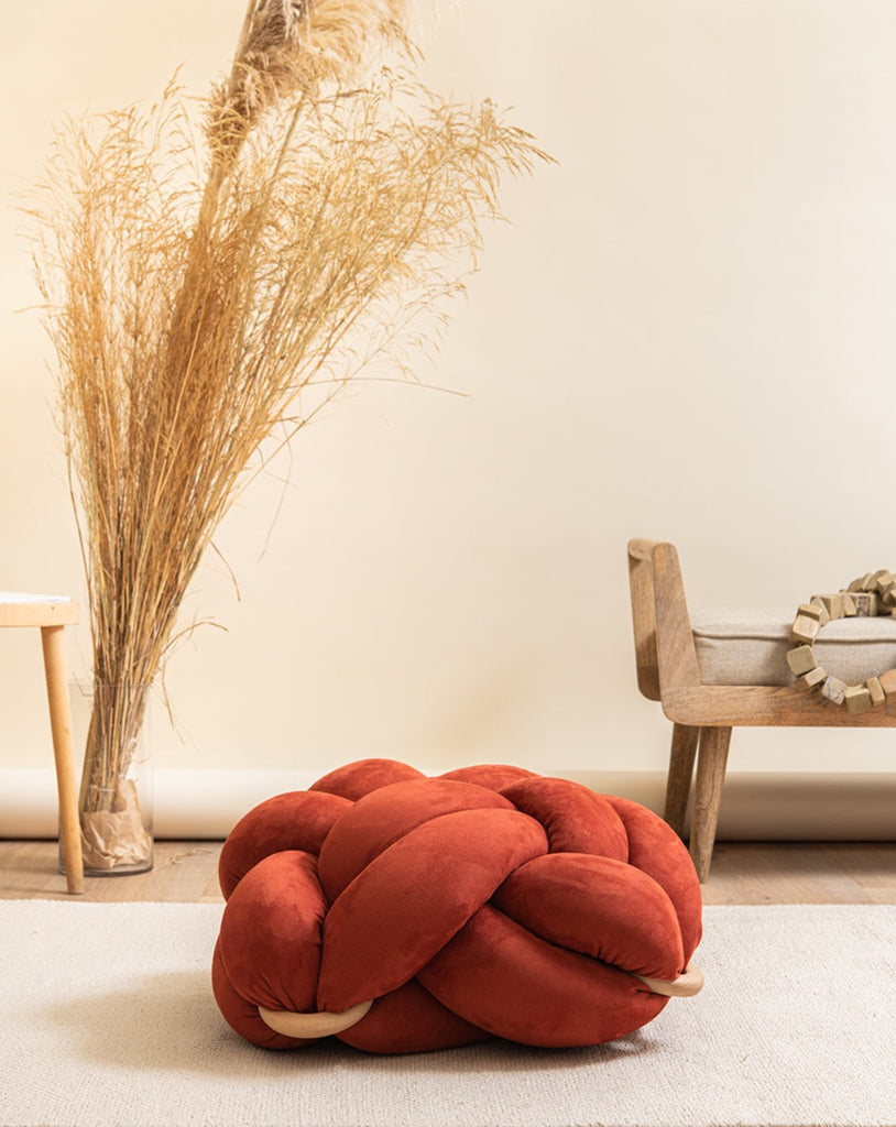 (M) Earth red vegan suede knot floor cushion