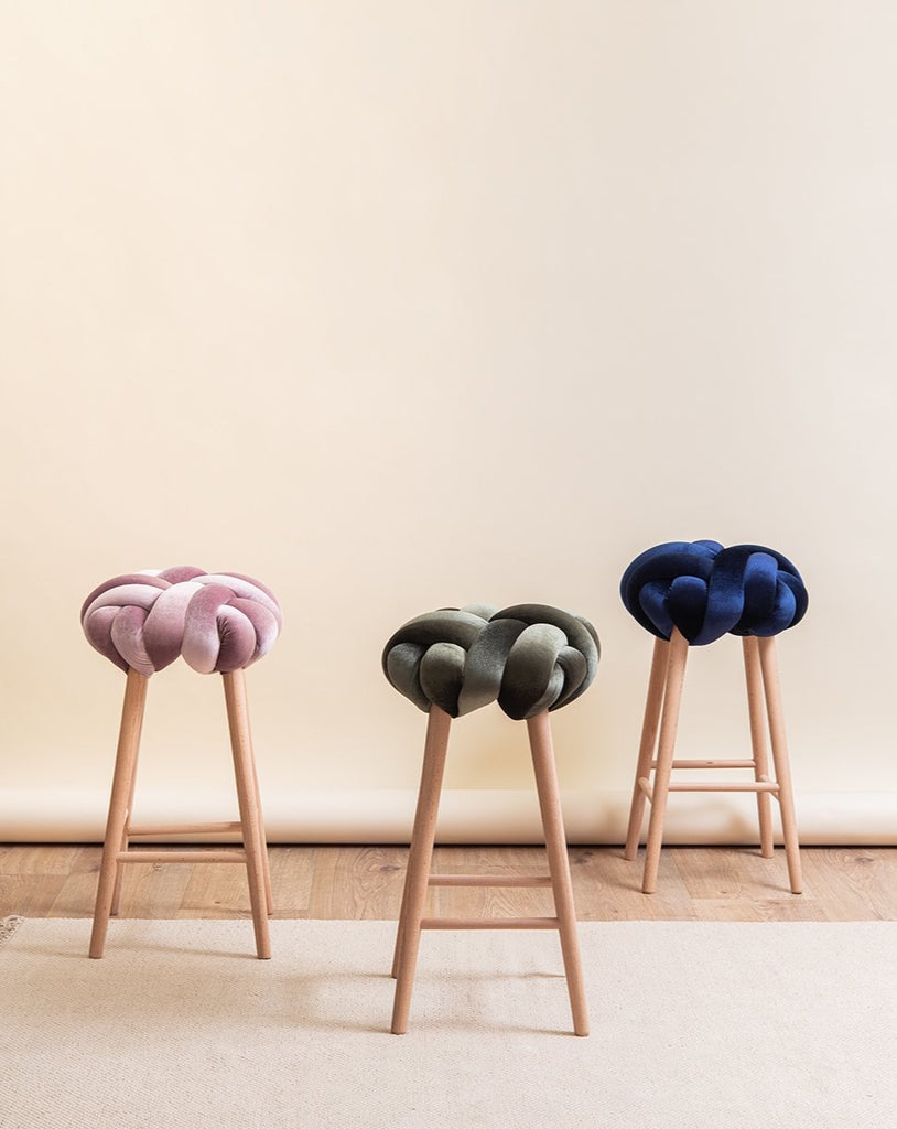 Mauve Velvet Knot Bar Stool