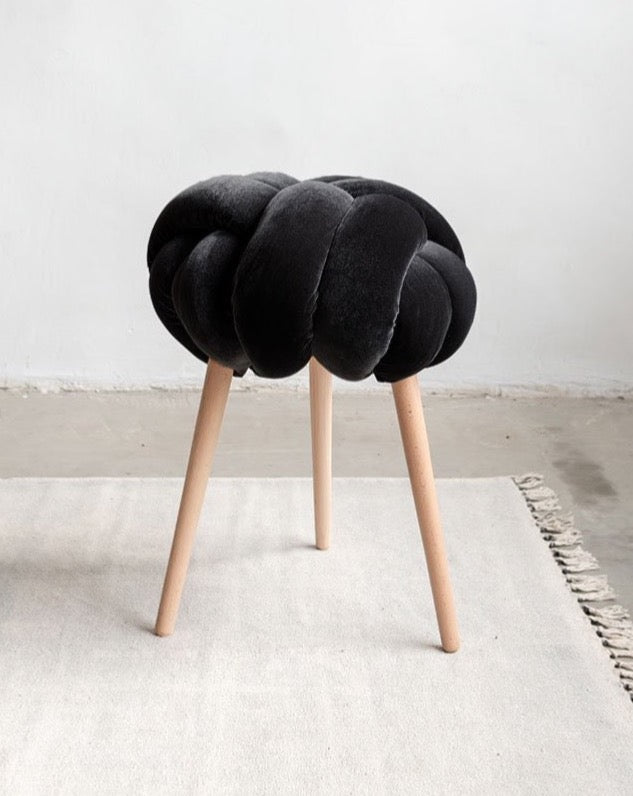 Black Velvet Knot Stool